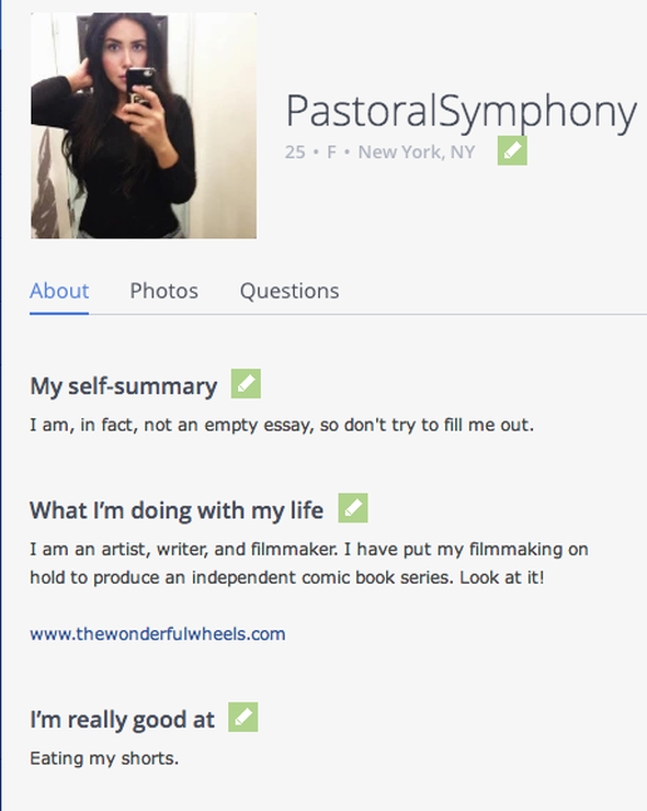 My self summary okcupid example