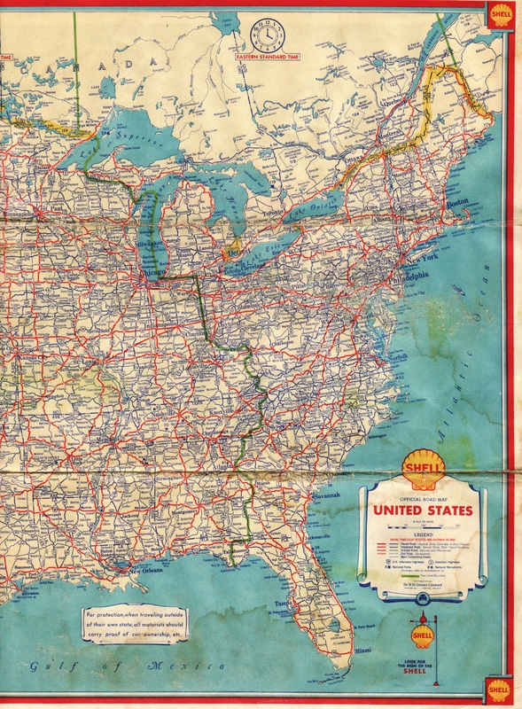Vintage Shell Road Map