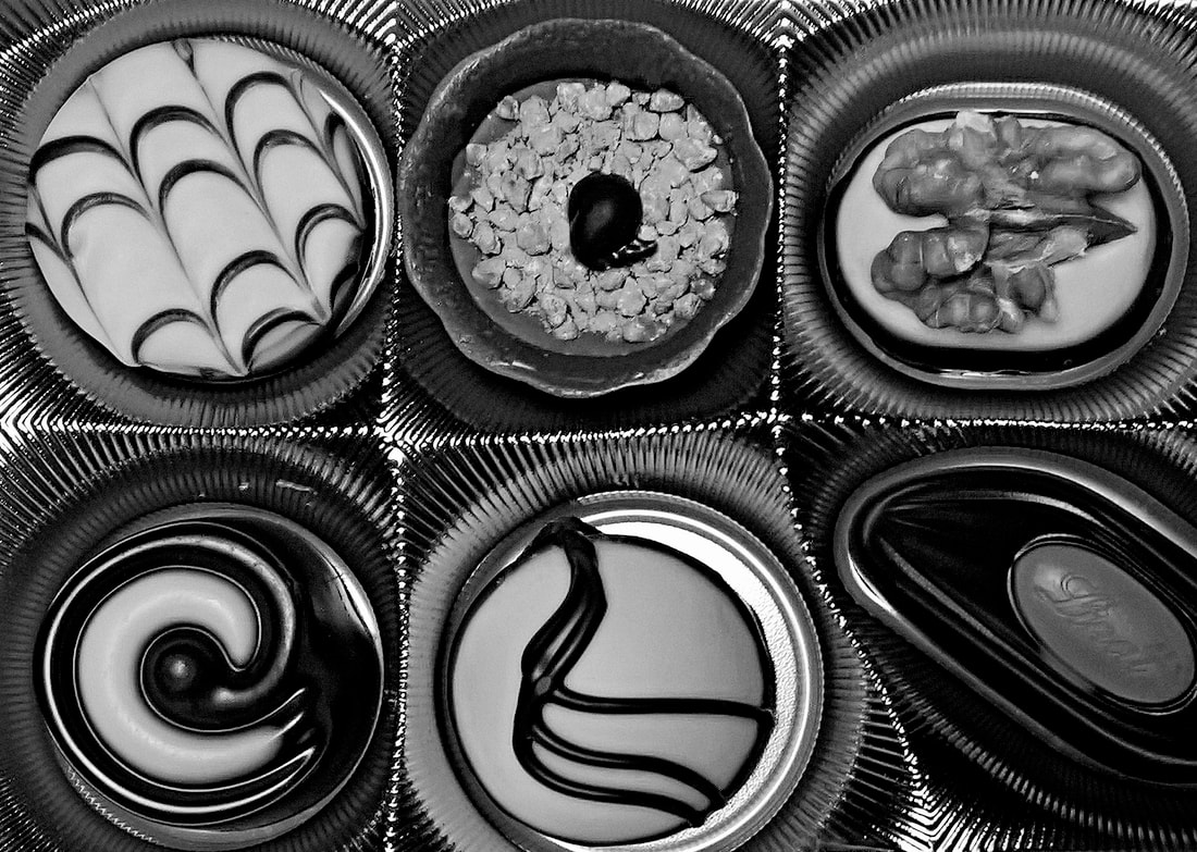 Box of chocolates (black and white)