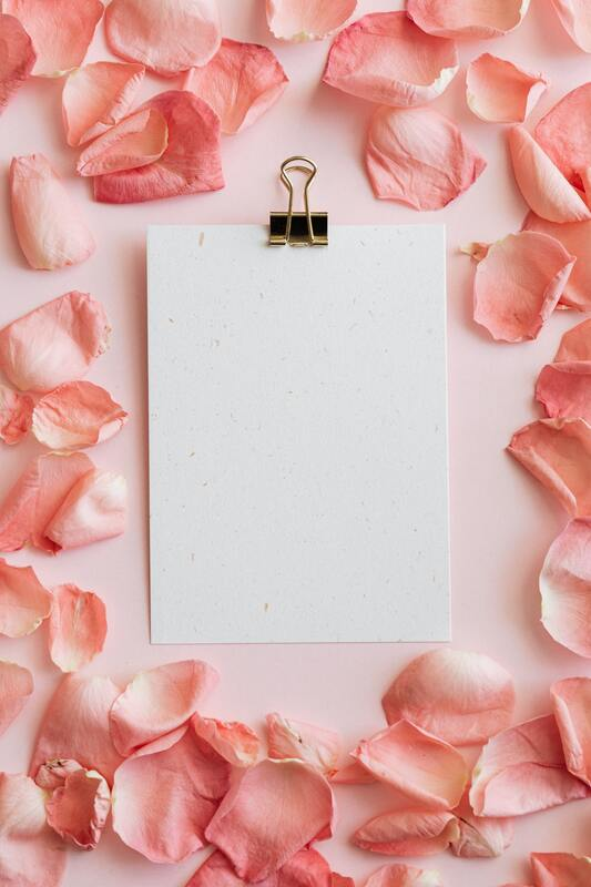 Rose petals surround a blank sheet of paper