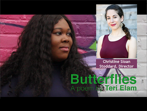 Butterflies poetry film still with a photo of director Christine Sloan Stoddard
